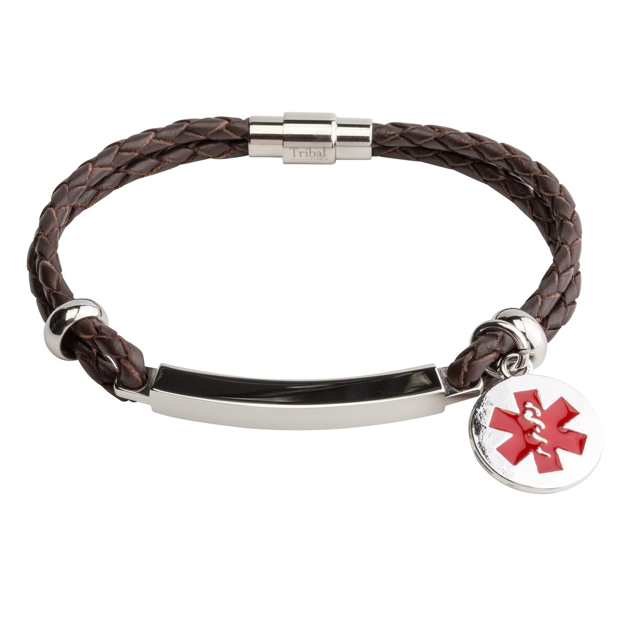 Brown Identity Bracelet Leather Medical Alert Bracelet