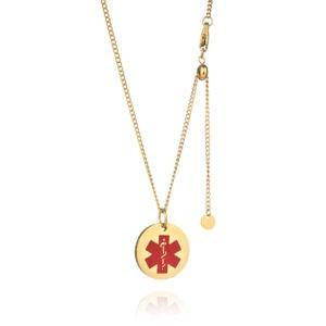 Adjustable Gold Plated Medical Alert Necklace