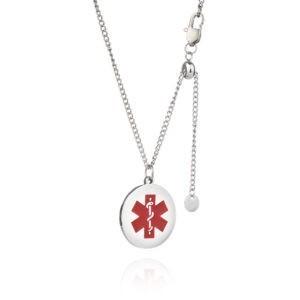 Kids Adjustable Silver Plated Medical Alert Necklace