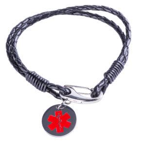Kids Black Medical Alert Leather Bracelet