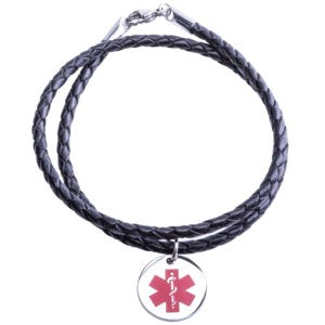 Brown Medical Alert Leather Necklace - Medic ID Lab