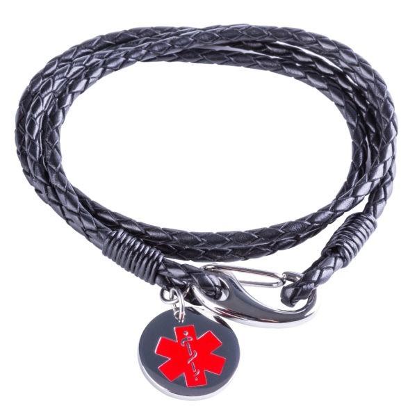 Black Medical Alert Wrap Bracelet