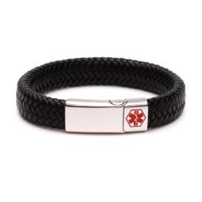 Kids Black Waterproof Medical Alert Bracelet
