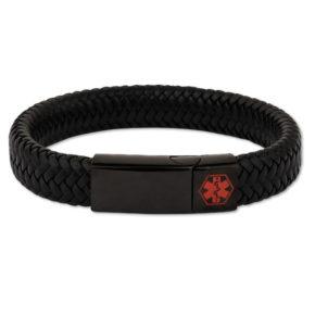 Kids Black With Black Clasp Waterproof Medical Alert Bracelet