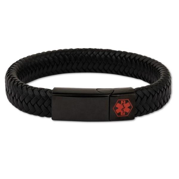 Black With Black Clasp Waterproof Medical Alert Bracelet