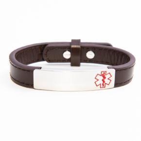 Kids Brown Adjustable Medical Alert Bracelet
