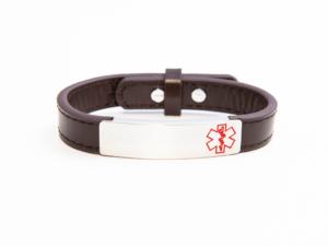 Brown Adjustable Medical Alert Bracelet