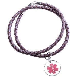 Brown Medical Alert Leather Necklace