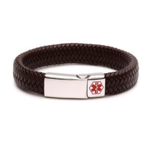 Brown Waterproof Medical Alert Bracelet