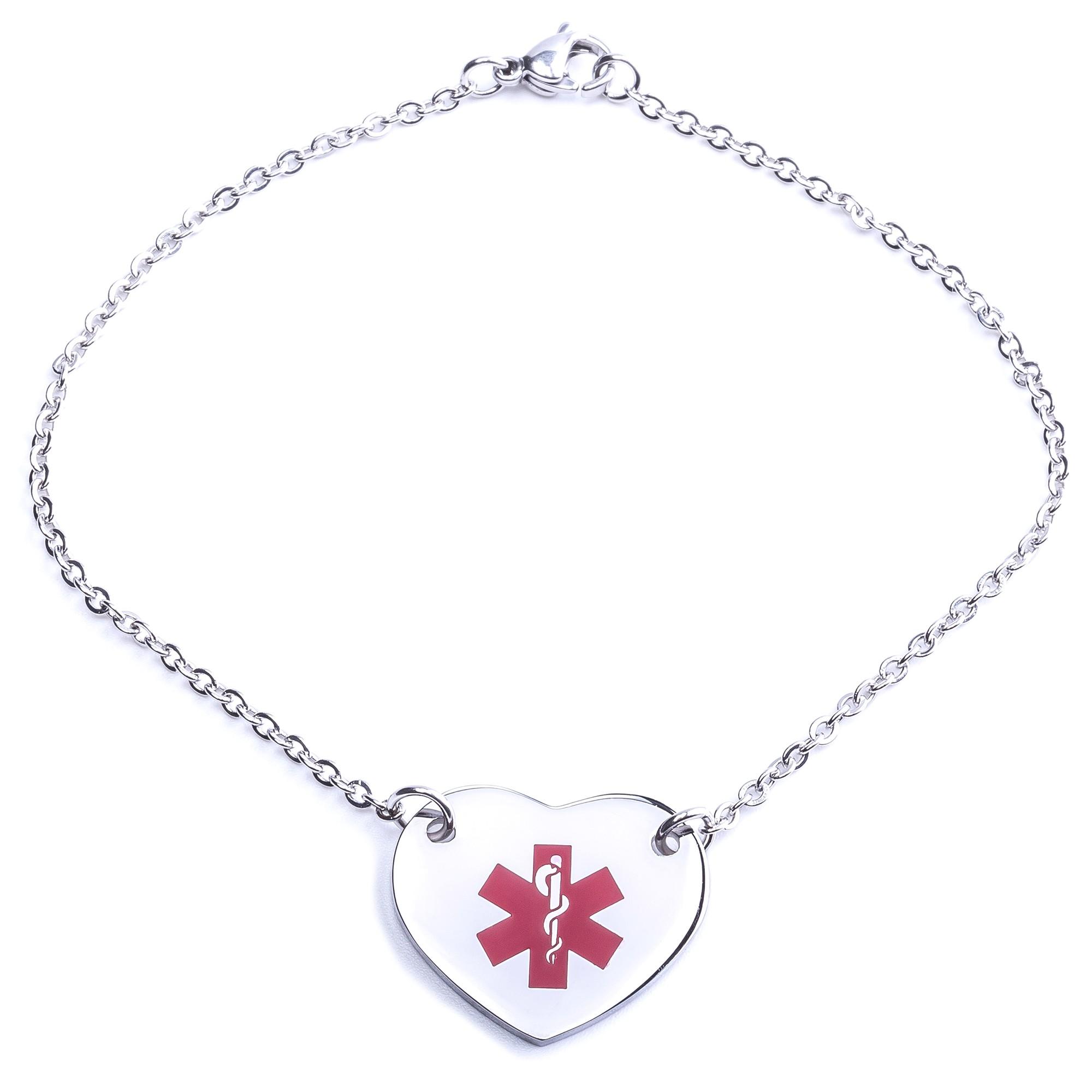Medical Alert Bracelets >> Heart Medical Alert Bracelet