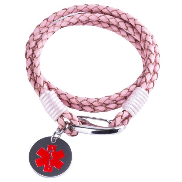 Ladies Pink Leather Medical Alert Wrap Bracelet
