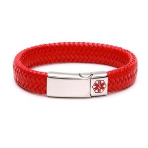 Red Waterproof Medical Alert Bracelet