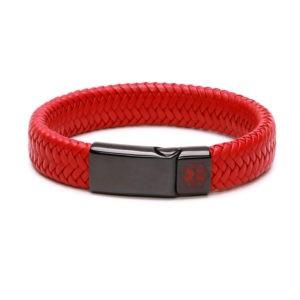 Kids Red With Black Clasp Waterproof Medical Alert Bracelet