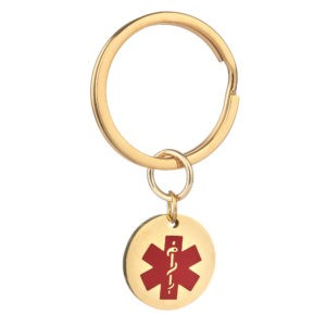 Stainless Gold Coloured Steel Keyring With Personalised 20mm Medical Alert Charm