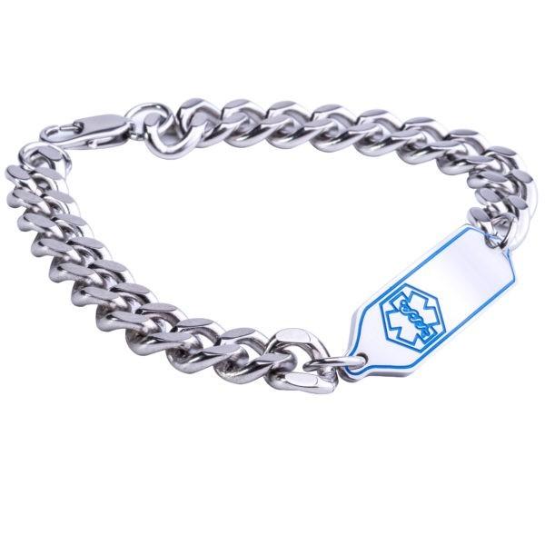 Stainless Steel Blue Medical Alert Bracelet