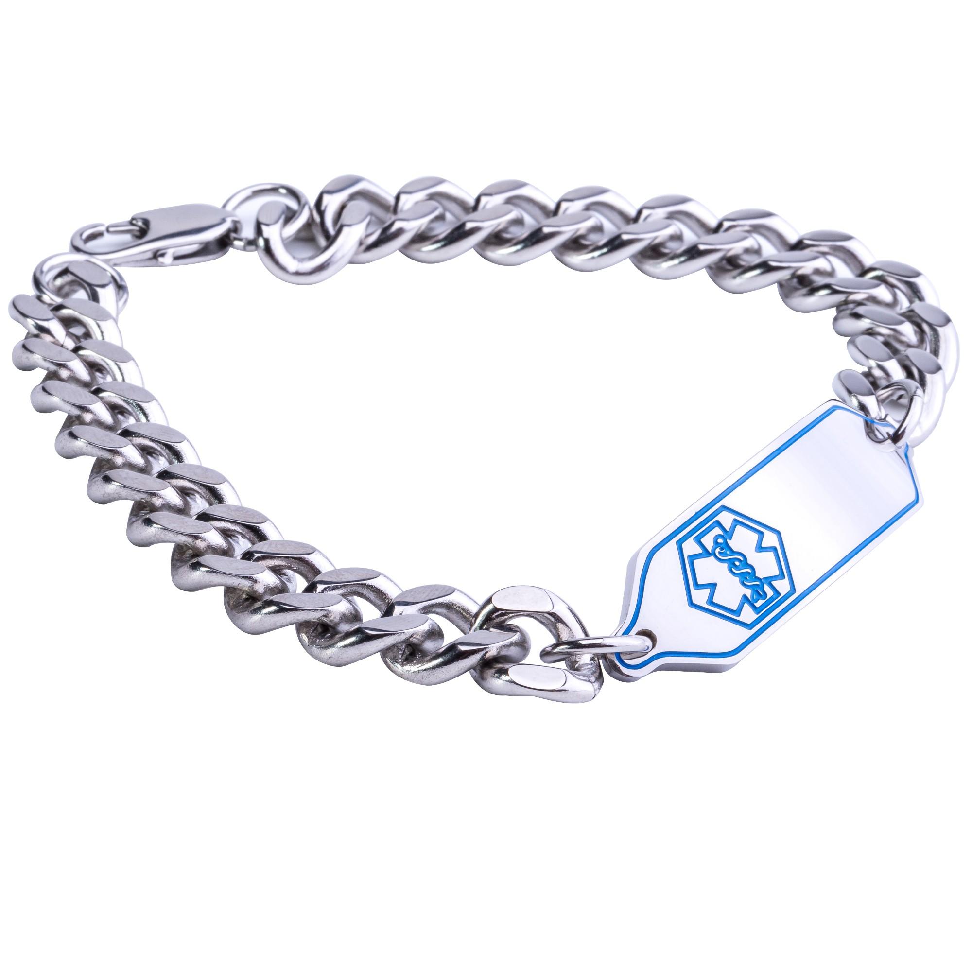Medical Alert Bracelets >> Stainless Steel Blue Medical Alert Bracelet