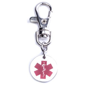 Stainless Steel Key Charm With Personalised 20mm Medical Alert Charm