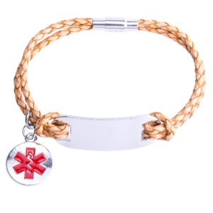 Tan ID Leather Medical Alert Bracelet